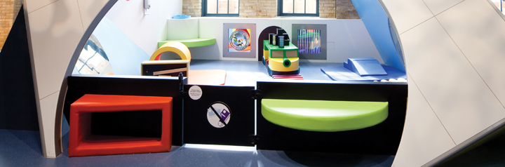 large photo of bright colourful tot spot exhibit area